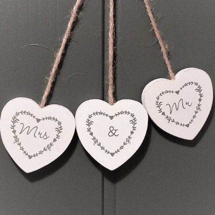 50% off Gorgeous rustic white hanging heart trio